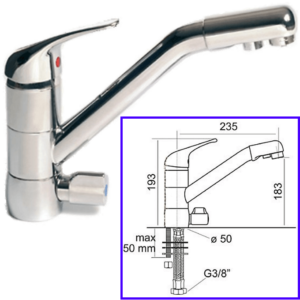 3-Way Drinkable Taps 3-Way Classic New Chrome Mixer - AqaLight Water Purifiers Milan and Monza