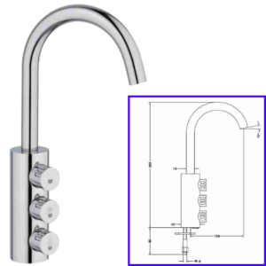Taps 3-Way Drinkable Tap Chrome Swan with Knobs